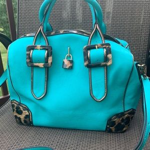 Turquoise and leopard bag,🌺